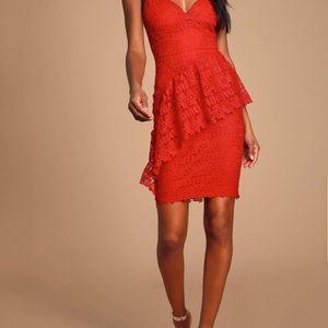 McKenzie red lace ruffled Lulu's dress